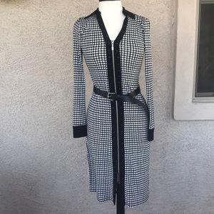 Michael Kors Zip-Up Front Black & White Dress NWT